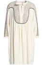 CHLOÉ Guipure lace-paneled linen and silk-blend dress