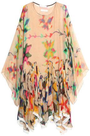 CHLOÉ Pleated printed silk-gauze dress