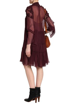 CHLOÉ Gathered ruffle-trimmed silk-georgette dress