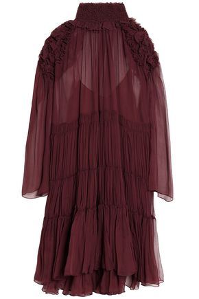 CHLOÉ Tiered ruffle-trimmed silk-georgette dress