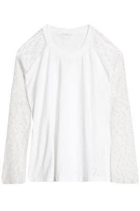CHLOÉ Lace-paneled cotton-jersey top