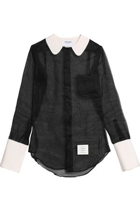 THOM BROWNE Crepe-trimmed organza shirt