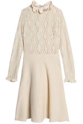 SEE BY CHLOÉ Ruffle-trimmed pointelle-knit and ribbed cotton-blend dress