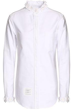 THOM BROWNE Floral-appliquéd cotton Oxford shirt
