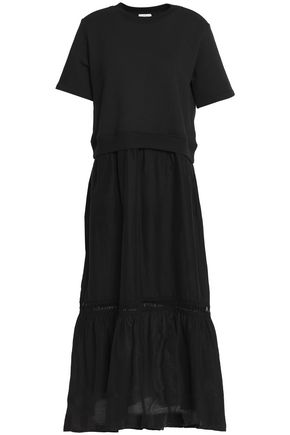CLU Open knit-trimmed cotton and silk-blend midi dress