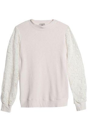 CLU Lace-paneled slub jersey sweatshirt