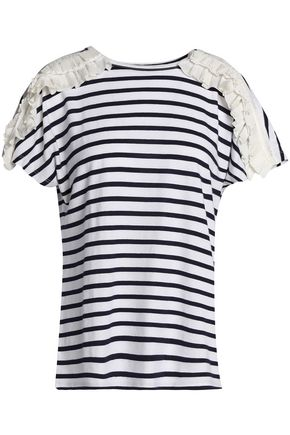 CLU Ruffle-trimmed striped cotton-blend jersey T-shirt