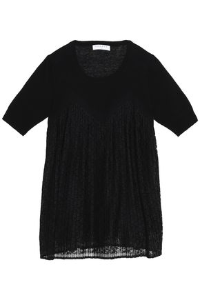 SANDRO Pavel pleated lace-paneled linen and cotton-blend top