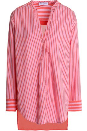 SANDRO Paris Asymmetric striped cotton-poplin shirt