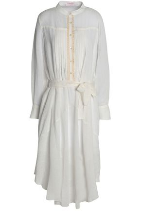 SEE BY CHLOÉ Pintucked cotton and linen-blend gauze midi dress