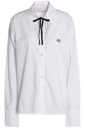 SEE BY CHLOÉ Pussy-bow appliquéd cotton-poplin shirt