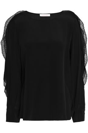 SEE BY CHLOÉ Ruffled lace-trimmed silk-crepe top