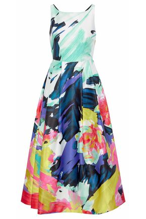 MILLY Pleated printed taffeta gown