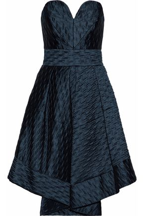 MILLY Strapless pleated cloqué-satin dress