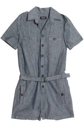 A.P.C. Belted cotton and linen-blend playsuit