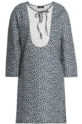 A.P.C. Broderie anglaise-paneled floral-print cotton and linen-blend mini dress