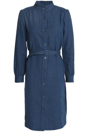 A.P.C. Belted linen and cotton-blend shirt dress
