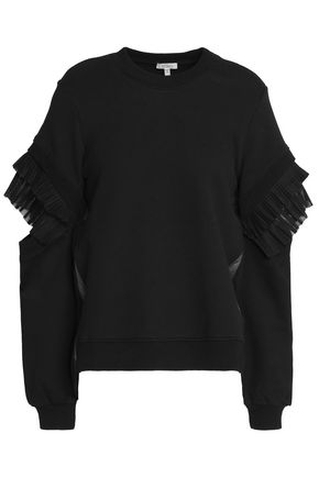 CLU Pleated paneled tulle and cotton-terry sweatshirt