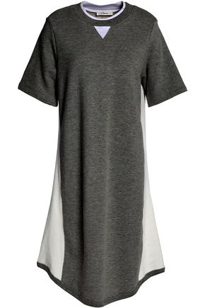 CLU Mesh-paneled cotton-terry dress