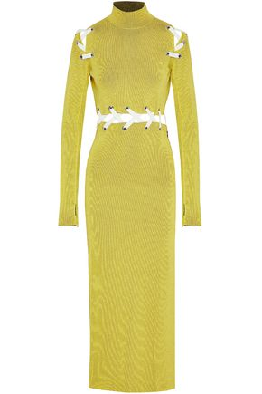 PROENZA SCHOULER Lace-up ribbed-knit maxi dress