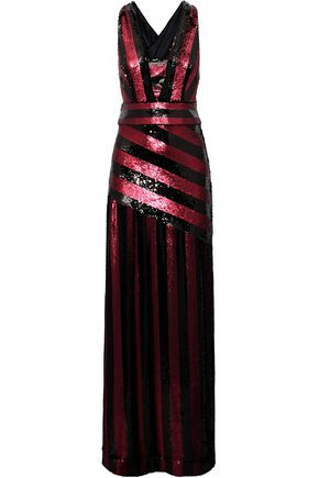 MILLY Striped sequin gown