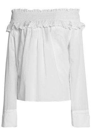 CLU Off-the-shoulder shirred cotton-gauze top