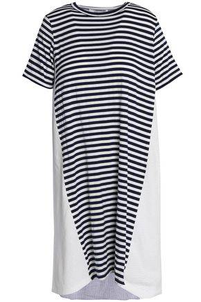 CLU Striped paneled mesh and jersey dress