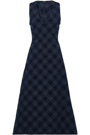 ROSETTA GETTY Flared gingham cotton-blend jacquard midi dress