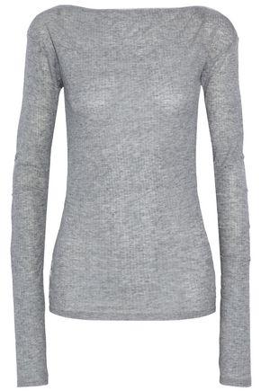 RAG & BONE Satin-trimmed ribbed-knit top