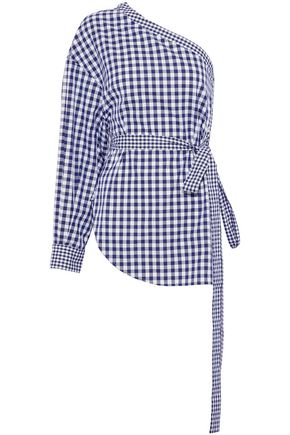 ROSETTA GETTY One-shoulder gingham cotton top