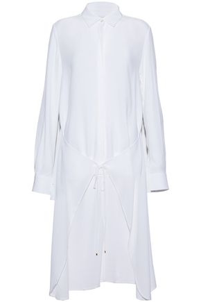 ROSETTA GETTY Tie-front asymmetric crepe de chine tunic