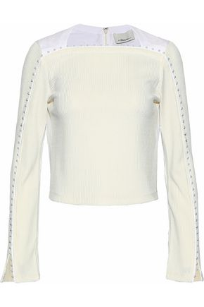 3.1 PHILLIP LIM Faux pearl-embellished cotton poplin-paneled ribbed-knit top