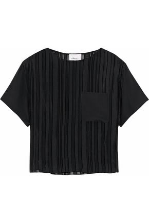 3.1 PHILLIP LIM Striped fil coupé silk-blend georgette top