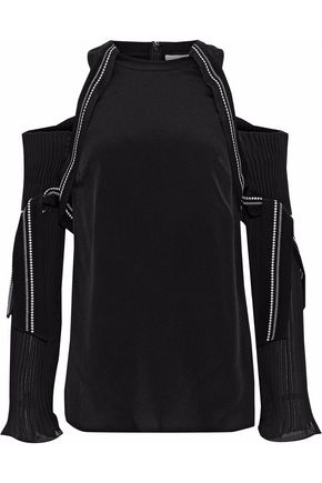 3.1 PHILLIP LIM Cold-shoulder silk-paneled embroidered plissé chiffon top