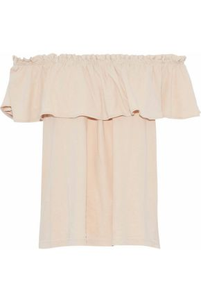 CURRENT/ELLIOTT Off-the-shoulder ruffled cotton-jersey top