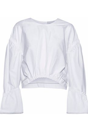 3.1 PHILLIP LIM Cropped gathered cotton-poplin top