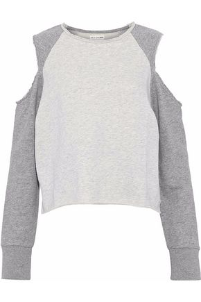 RAG & BONE/JEAN Cold-shoulder frayed cotton-terry sweatshirt