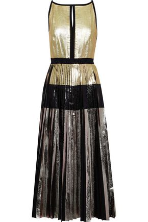 PROENZA SCHOULER Pleated metallic coated cloqué midi dress