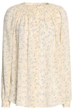 VINCE. Smocked floral-print silk crepe de chine shirt