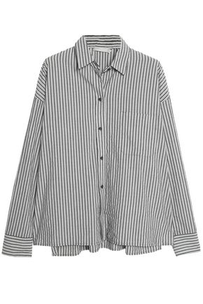 VINCE. Striped cotton-poplin shirt
