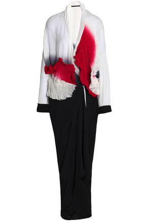 HAIDER ACKERMANN Wrap-effect appliquéd dégradé silk maxi dress
