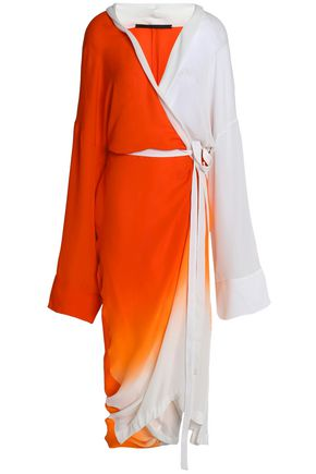 HAIDER ACKERMANN Wrap-effect dégradé silk midi dress