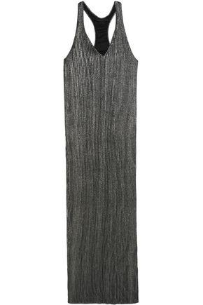 HAIDER ACKERMANN Pleated metallic silk-blend maxi dress
