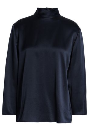 VINCE. Silk-satin turtleneck top