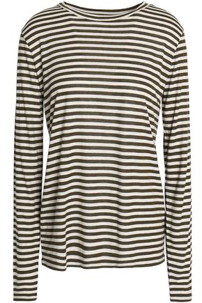 VINCE. Striped silk-blend jersey top