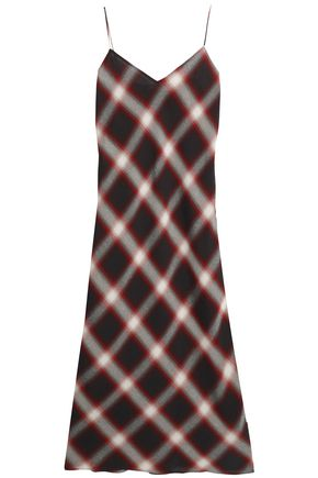 VINCE. Checked gauze midi dress
