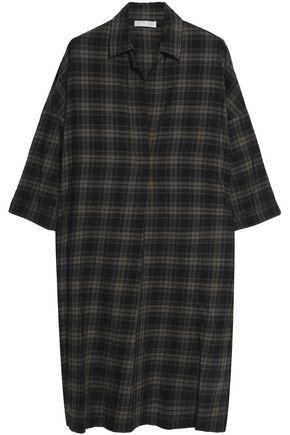 VINCE. Checked cotton-poplin shirt dress