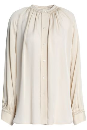 VINCE. Gathered silk blouse