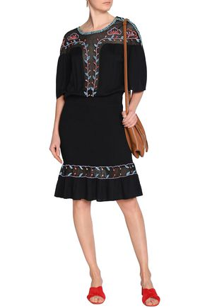 ANTIK BATIK Odelia embroidered mesh-paneled crinkled-voile dress