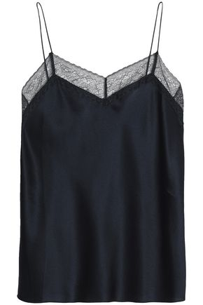 VINCE. Lace-trimmed silk-satin camisole